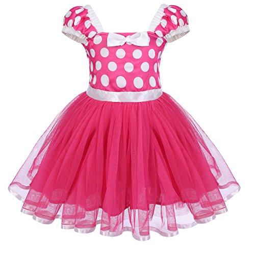 (Toddlers Girls' Polka Dots Minnie Birthday Princess Leotard Costume Tutu Dress Up Mouse Rose 3-4)