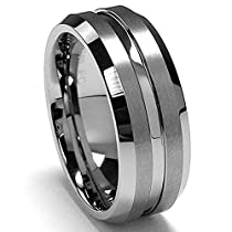 Metal Masters Co.® 8MM High Polish / Matte Finish Mens Tungsten Ring Wedding Band Sizes 6 to 15