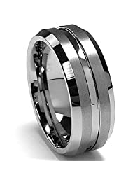 Metal Masters Co.® 8MM High Polish / Matte Finish Men's Tungsten Ring Wedding Band Sizes 6 to 15