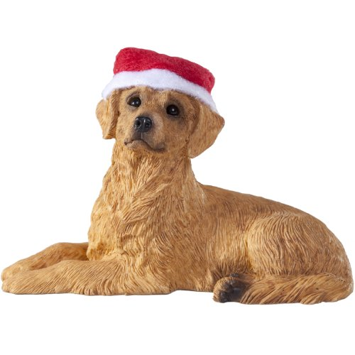 Sandicast Golden Retriever with Santa Hat Christmas Ornament