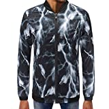 Mens Printed Zipper Pullover Long Sleeve Sweatshirt Tops Blouse PASATO New Hot!(Black, XXL)