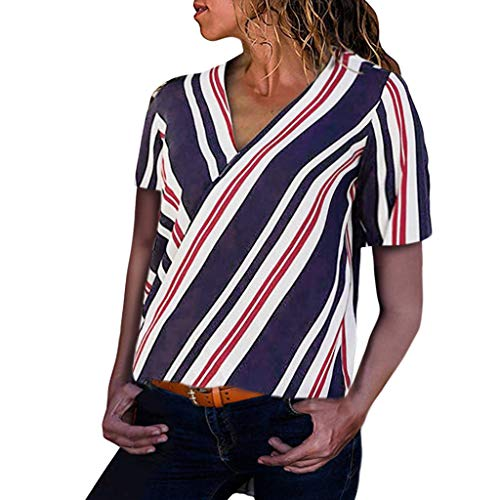 (Women Tops Clearance Sale Laides Casual Striped Printing Short Sleeve Shirt Blouse Button Down Blouse)