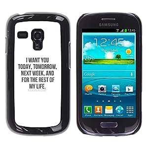 FlareStar Colour Printing I Want You Love Life My Sweetheart Honey cáscara Funda Case Caso de plástico para Samsung Galaxy S3 III MINI (NOT FOR S3!!!) / i8190 / i8190N