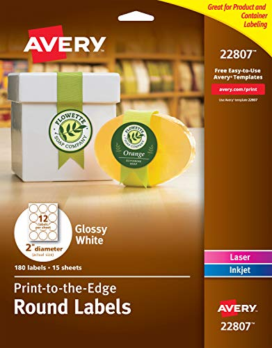Avery 2 Inch Round Labels, Glossy White,180 Round Labels (22807) from Avery