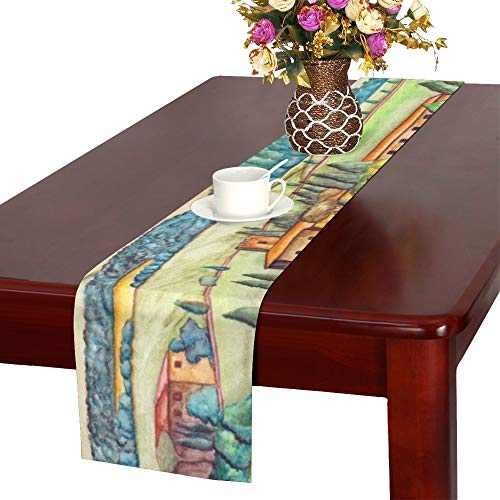 Italian Runner - Beautiful Italian Country Landscape Painted Table Runner, Kitchen Dining Table Runner 16 X 72 Inch for Dinner Parties, Events, Decor