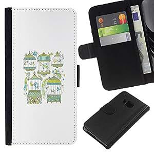 WINCASE Cuadro Funda Voltear Cuero Ranura Tarjetas TPU Carcasas Protectora Cover Case Para HTC One M9 - trullo rosado del modelo minimalista de color beige