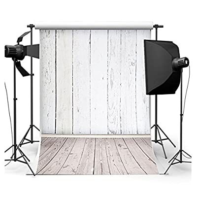 FUT 3-5 Business Days FAST Delivery, White Wooden Wall & Dark Wooden Floor Vinyl Backdrop Background Ideal for Baby, Newborn, Personal Photo, Product Photography 5x7ft