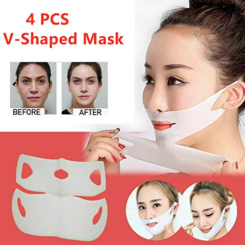 4 Pack Miracle V-Shaped Slimming Mask V Line Mask Neck Mask Face Lift V Lifting Chin Up Patch Double Chin Reducer Tightening Mask