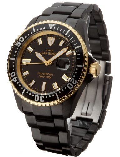 Detomaso Men's DT1025-F San Remo Divers Classic Schwarz Analog Display Japanese Automatic Black Watch