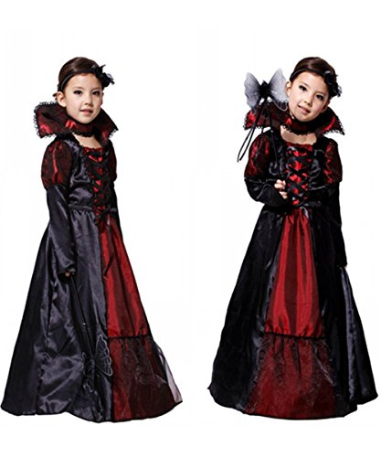 Vampire School Girl Costume (CYMF Girls Vampire Costume Christmas Gifts Queen Dress Kids Party Bar School Activity)