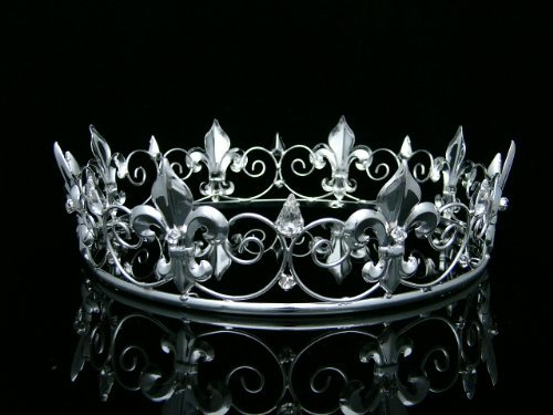 Men's Full King's Crown for Theather Prom Party - Clear Crystals Silver Plating T373 Venus Jewelry