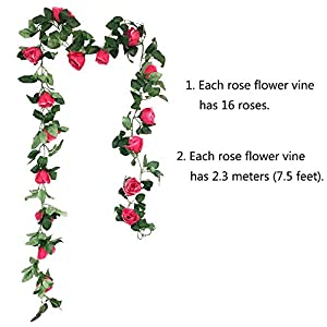 CEWOR Artificial Rose Vine Fake Flower Garland for Wedding Home Garden Party Decoration 2