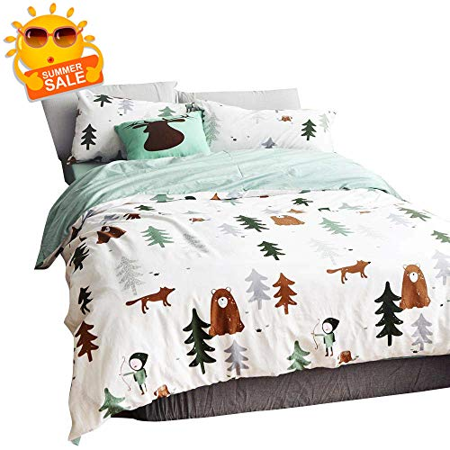 BuLuTu Siberia Forest Theme Boys Duvet Cover Twin Cotton Darker White,Cartoon Duvet Cover Set Kids,3 Pieces Bedding Collection Set(1 Duvet Cover + 2 Pillowcases) for US Single Bed,No Comforter (Asian Theme Comforter)