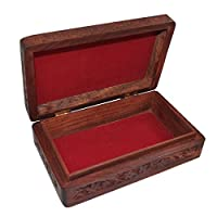 Dungricraft Handmade Floral Design Hand Carved Wooden Jewelry Storage Box for Her 8x4.8x2.4 Inches