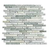 Marble Mosaic Tile, ''Tibet Collection'', MM 5102 - Ming Green, Mixed Strips, 12''X11-1/2'', Polished (Box of 5 Sheets)