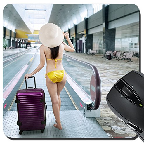 MSD Suqare Mousepad 8x8 Inch Mouse Pads/Mat design 29913962 Young woman wearing bikini with a suitcase walking to escalator at - Airport Women At Hot