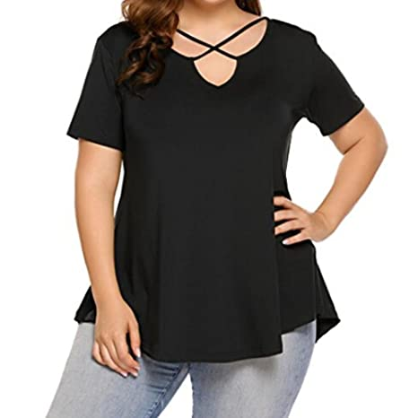 LuckyGirls Camisetas Mujer Manga Corta Originales Color Sólido Bandage Casual Blusas Remeras Negro Camisas Tallas Grandes