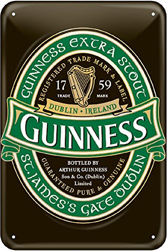Guinness Label Embossed Metal Sign 12