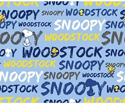 1//2 Yard Peanuts Snoopy and Woodstock Word Stripe on Blue Cotton Fabric 1//2 Yard X 44 Great for Quilting, Sewing, Craft Projects, Throw Pillows, Quilts /& More Officially Licensed