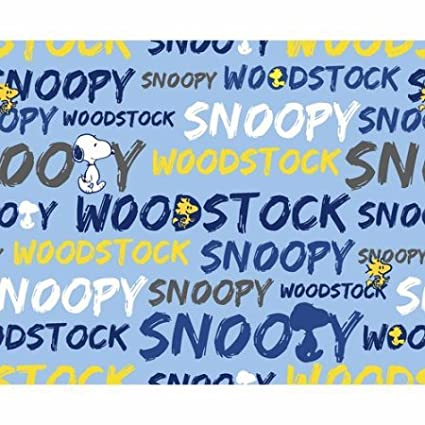 1/2 Yard - Peanuts Snoopy and Woodstock Word Stripe on Blue Cotton Fabric - Officially Licensed (Great for Quilting, Sewing, Craft Projects, Throw Pillows, Quilts & More) 1/2 Yard X 44 Springs Creative Products