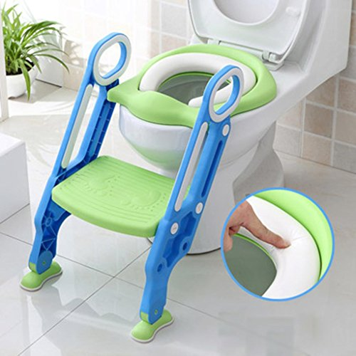 HETAO Creative Children stool Toilet stool Stepping Stool bathroom Non-slip low stool Step ladder staircase stairs Thickening plastic, blue green ()