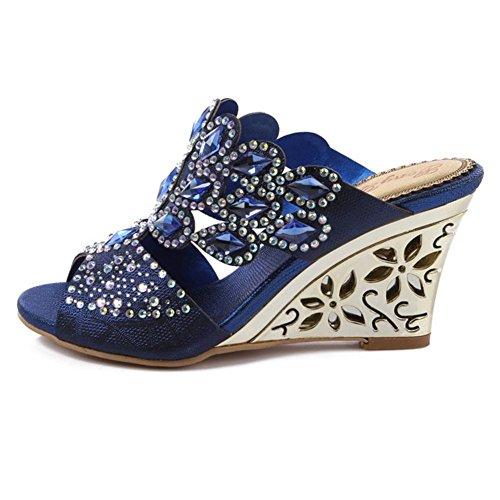 cristal diamante pendiente con tacones altos sandalias hecho a mano cuero mujer noche banquete fiesta club nocturno zapatillas hueco hebilla zapatillas zapatos . blue . 41 wEeBidk