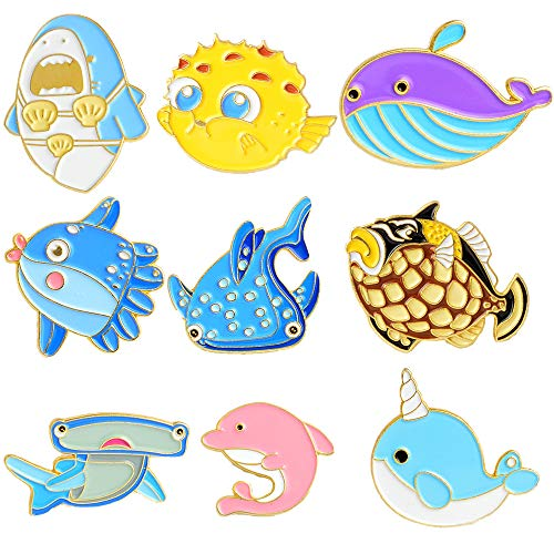 Fruit Brooch Pin (PunkStyle Creative Plant Animal Fruit Enamel Brooches Pins for Children Women Girls for Clothing Bag Decor (Japanese Underwater World - 9pcs))