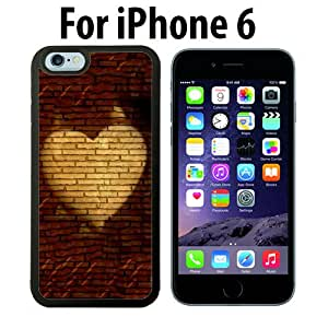 Heart Red Brick Wall Custom Case/ Cover/Skin *NEW* Case for Apple iPhone 6 - Black - Rubber Case (Ships from CA) Custom Protective Case , Design Case-ATT Verizon T-mobile Sprint ,Friendly Packaging - Slim Case