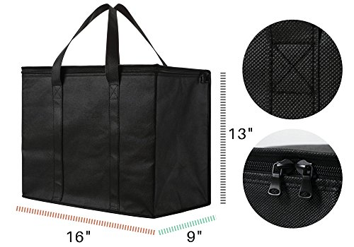 2 Pack Insulated Reusable Grocery Bag, Extra Large Size, Stands Upright, Collapsible, Sturdy Zipper by NZ Home (Image #2)