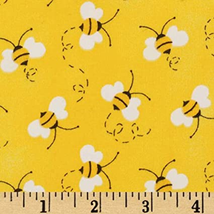 BEES BUMBLE YELLOW BLACK BEE COTTON FABRIC 16 IN SCRAP CUT