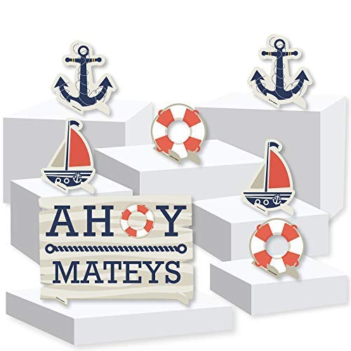 Ahoy - Nautical - Baby Shower or Birthday Party Centerpiece and Buffet Table Decor - Tabletop Standups - Set of 7 ()