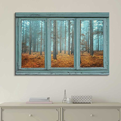 Wall26 - Vintage Teal Window Looking Out Into a Blue Foggy Forest During Fall Time - Canvas Art Home Decor - 24x36 inches