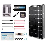 Renogy 200 Watt 12 Volt Premium Solar Complete Kit Monocrystalline with MPPT Charge Controller +Mounts+ 100AH Gel Battery+ 500W Pure Sinve Inverter