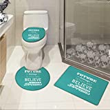 Carl Morris Motivational bathroom and toilet mat set Hipster Letters Saying Advice Believe in Your Dreams Have Faith in Yourself Printed Rug Set Teal White