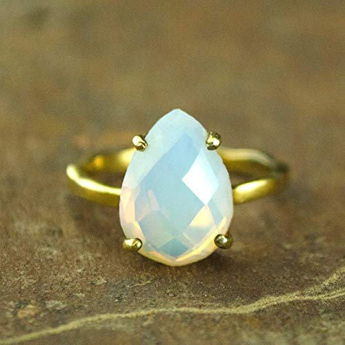 Opalite ring, stackable ring, Vermeil Gold or silver, prong set ring, May Birthstone ring, teardrop ring, Birthday gift, teardrop ring, Opalite jewelry, October Birthstone Ring