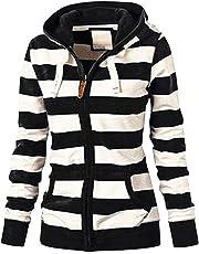 Zainafacai Womens Plus Size Coat, New Ladies Striped Zipper Hooded Sweatshirt Winter Slim Pocket Jacket