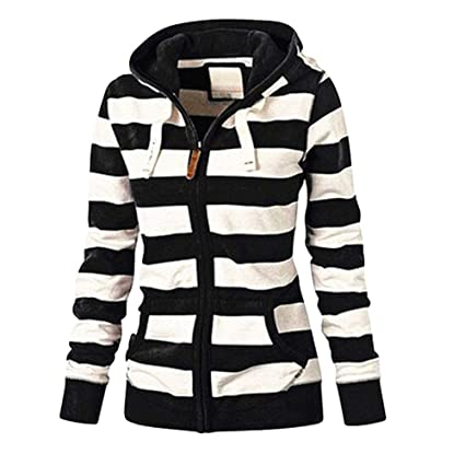 Easytoy Womens Striped Hoodies Full Zip Hooded Sweatshirt Coat Outerwear  with Pockets (Black 095971dc4