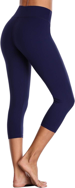 Vegatos Womens High Waisted Yoga Capris Pants Athletic Cropped Workout Legging
