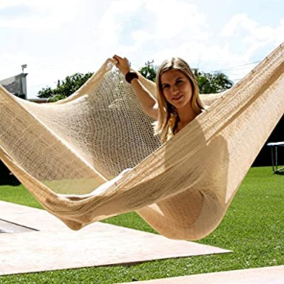 Sunnydaze Portable Mayan Hammock Hand-Woven, Jumbo Size, 770 Pound Capacity, Natural - Overall Dimensions: 157 inch long x 118 inch wide end-to-end. Bed size: 79 inch wide x 118 inch long; Maximum capacity: 770 pounds Made from 80% Cotton and 20% Nylon so it is soft and durable. Please note that colors may slightly vary on the hammocks due to each being specially hand-woven. - patio-furniture, patio, hammocks - 51h8jwgU0NL. SS400  -