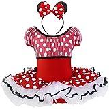 TIAOBU Girls Polka Dots Xmas Party Cosplay Tutu Dancewear Costume Dress Headband