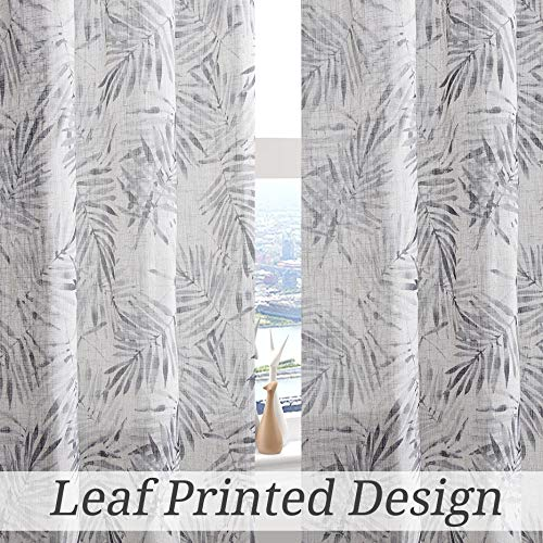 Central Park Leaf Linen Window Curtain Panel Print Rustic Farmhouse Drapes Rod Pocket Back Tab Semi Sheer Curtains for Living and Bedroom Modern Design, 50x95 Inches 1 Piece, Black and Tan