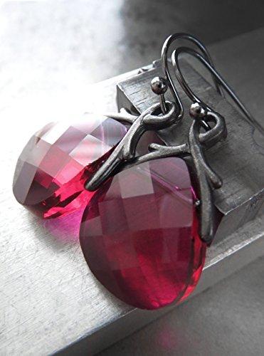 Ruby Briolette Earrings - Raspberry Delight - Swarovski Ruby Color Crystal Teardrop Earrings - Magenta Fuchsia Crystal Briolette Earrings