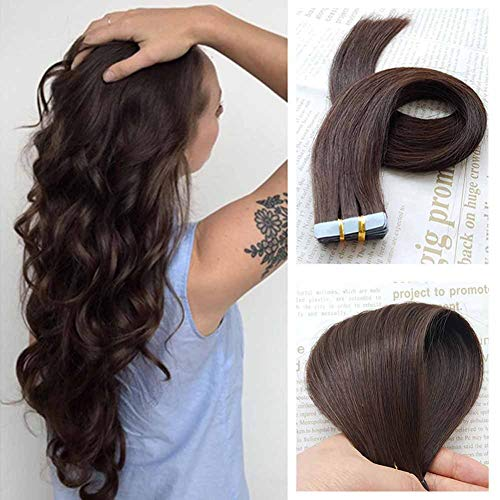 (SHOWJARLLY Tape In Hair Extensions (20inch-50g, 2 Dark Brown))