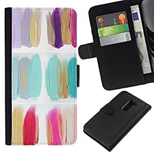 All Phone Most Case / Oferta Especial Cáscara Funda de cuero Monedero Cubierta de proteccion Caso / Wallet Case for LG G2 D800 // Polish Flowers Minimalist Oil Paint