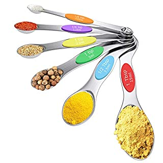 Magnetic Measuring Spoons Set, Alotpower Stainless Steel Metal Measuring Spoons, Dual Sided, Fits in Spice Jars and Measurement of Ingredients for Baking, Set of 6