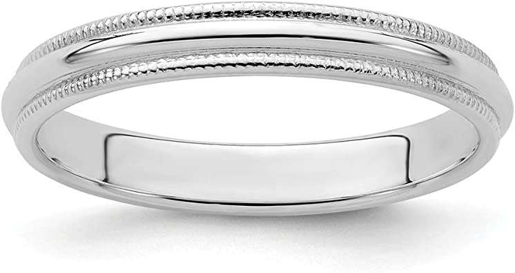 Full /& Half Sizes 925 Sterling Silver 3mm Half Round Polished Milgrain Wedding Ring Band Available in Sizes 4-13