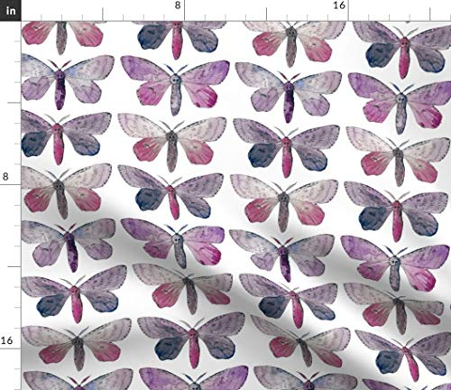 Spoonflower Purple Moth Fabric - Collection Watercolor Wing Bug Insect Butterfly Wings Girls Room Print on Fabric by The Yard - Fleece for Sewing Blankets Loungewear and No-Sew Projects