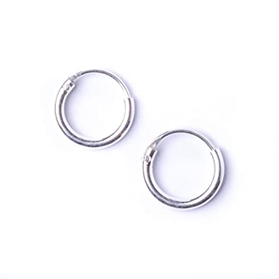 81stgeneration Women's .925 Sterling Silver Round 1.2mm 8 mm Tiny Hoop Earrings mkcxp5