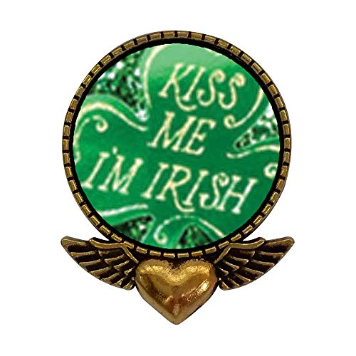 GiftJewelryShop Ancient Style Gold-Plated Kiss Me I'm Irish Heart with Angel Wings Pins Brooch