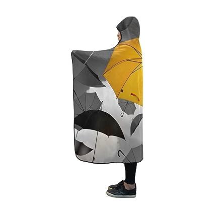 Jnseff - Manta con Capucha, Paraguas Amarillo, Negro, Blanco, selección Especial,